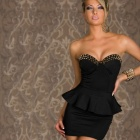 2660-2 Fashion Sexy Lady's Sleeveless Flounced Waist Low-Cut Tight Dress - Black