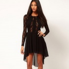 Neu eingetroffen Sophisticated Long Sleeves Lace Sexy Curve Fitting Cocktail Dress - Black