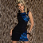 New Arrived Sophisticated Sexy Backless Curve Fitting Cocktail Dress - Blue + Black