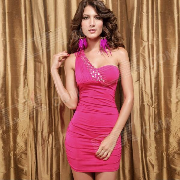 New Arrived Sophisticated Rhinestone Sequin Sexy Curve Fitting Cocktail Dress - Pink
