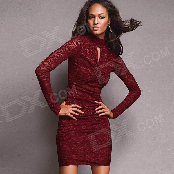 Women\'s Sophisticated Lace Sexy Curve Fitting Cocktail Dress - Red ...