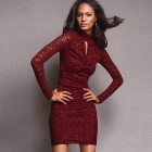 Women's Sophisticated Lace Sexy Curve Fitting Cocktail Dress - Red