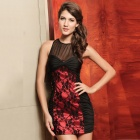 New Arrived Sophisticated Sexy Lace Curve Fitting Cocktail Dress - Black + Red