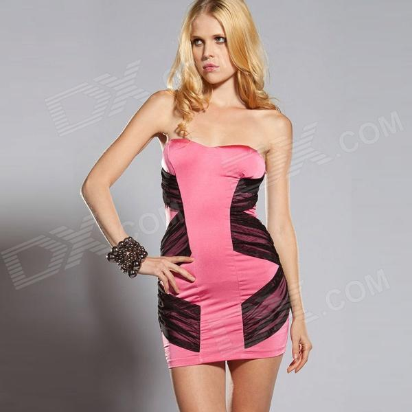 New Arrived Sophisticated Sexy Lace Curve Fitting Cocktail Dress - Pink + Black