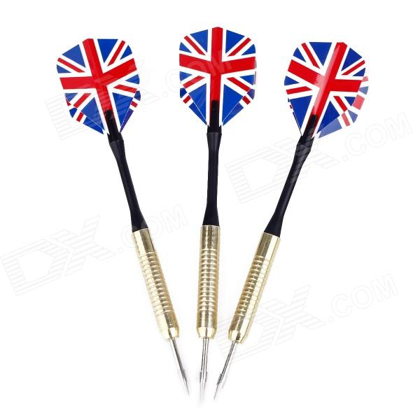 UK National Flag Pattern Copper Plated Iron Darts - Golden + Black + Blue + Red (3 PCS) 3 5mm copper audio plugs black red golden 4 pcs