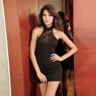 chic sofisticato curva senza maniche sexy del cocktail dress Meryl pizzo - nero