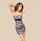 Chic Sexy Curve Meryl + Lace Cocktail Strapless Dress - Light Gray + Black