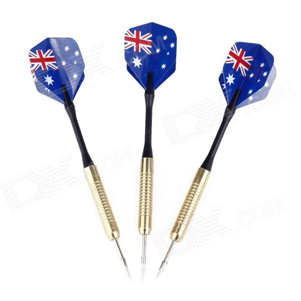 Australian National Flag Style Copper-Plating Iron Darts - Golden + Black + Blue (3 PCS) bl006 french national flag style copper plating iron darts 3 pcs