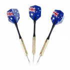 Australian National Flag Style Copper-Plating Iron Darts - Golden + Black + Blue (3 PCS)