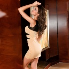 Chic Sexy High Elasticity Sleeveless Curve Meryl Mesh Cocktail Dress - Beige + Black