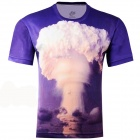 LaoNongZhuang 3D Atomic Bomb Pattern Round Neck Leisure T-Shirt - Blue (Size XXXL)