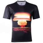 LaoNongZhuang 3D Mushroom Cloud Pattern Round Neck Leisure T-Shirt - Black (Size XL)
