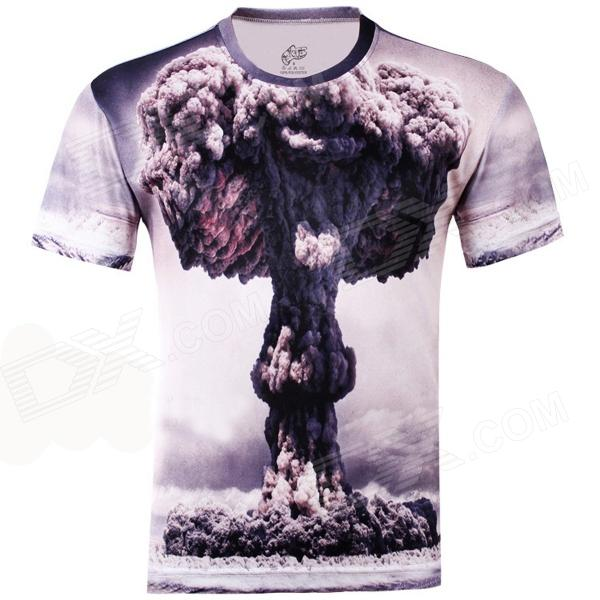 LaoNongZhuang 3D Atomic Bomb Pattern Round Neck Leisure T-Shirt - Grey (Size XL) 668th bomb squadron 1