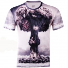 LaoNongZhuang 3D Atomic Bomb Pattern Round Neck Leisure T-Shirt - Grey (Size XL)