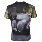LaoNongZhuang 3D Luxury Car Pattern Round Neck Leisure T-Shirt - Black (Size XL)