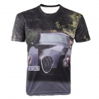 LaoNongZhuang 3D Luxury Car Pattern Round Neck Leisure T-Shirt - Black (Size XXXL)