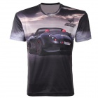 LaoNongZhuang 3D Racing Car Pattern Round Neck Leisure T-Shirt - Black (Size XXXL)