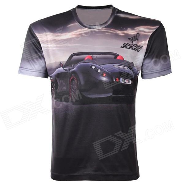 LaoNongZhuang 3D Racing Car Pattern Round Neck Leisure T-Shirt - Black (Size XL)