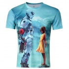 LaoNongZhuang 3D Robot and Girl Pattern Round Neck Leisure T-Shirt - Cyan (Size XL)