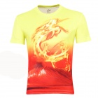 LaoNongZhuang Flying Dragon Pattern Round Neck Leisure T-Shirt - Yellow + Red (Size XL)