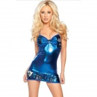 Chic High Elasticity Patent Leather + Sequin Evening Sling Dress - Blue