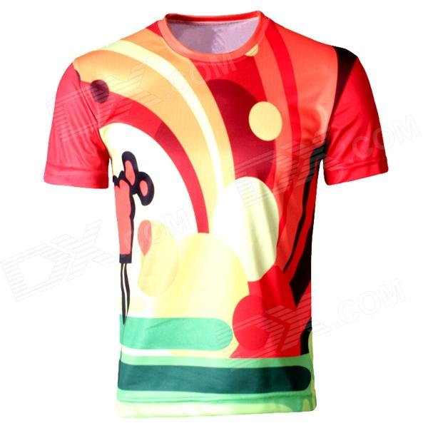 Laonongzhuang Dynamic Colorful Round Neck Short Sleeve T-Shirt - Red + Yellow + Green (Size-XL)