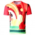 Laonongzhuang Dynamic Colorful Round Neck Short Sleeve T-Shirt - Red + Yellow + Green (Size-XXXL)
