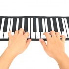 Portable USB MIDI Roll-up 49-Key Soft Silicone Keyboard Piano - Black + White