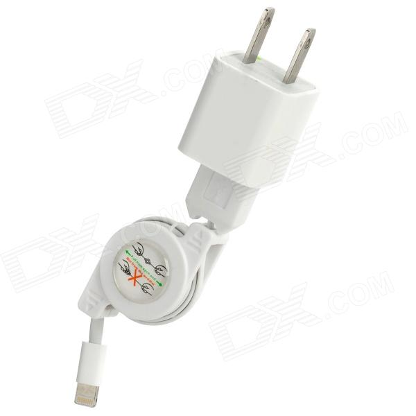 AC Power Charger Adapter w/ Retractable USB Cable for iPhone 5 / iPad Mini - White (US Plug)
