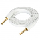 Flat 4-Conductor TRRS 3.5mm Audio Male to Male Connection Cable - White + Golden (100cm)