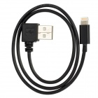 USB to 8pin Lightning Left 90 Degree Angle Charging and Data Transmission Cable - Black (50cm)