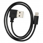USB to 8pin Lightning Right 90 Degree Angle Charging and Data Transmission Cable - Black (50cm)