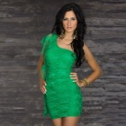 Elegant Breezy Sexy Curve One-Shoulder Lace + Meryl Cocktail Dress - Green (Size L)