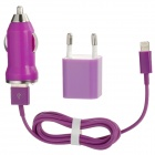 USB Car Charger + USB EU Plug Power Adapter + USB Stecker auf 8pin Blitz Male Cable - Purple