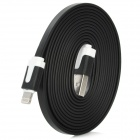 Flat Lightning 8-Pin Male to USB 2.0 Male Data Sync / Charging Cable for iPhone 5 - Black (200cm)