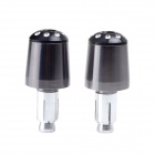 "Aluminum Alloy Grips Handle Bar End Plugs for 7/8"" Motorcycle Harley - Grey + Black (Pair)"