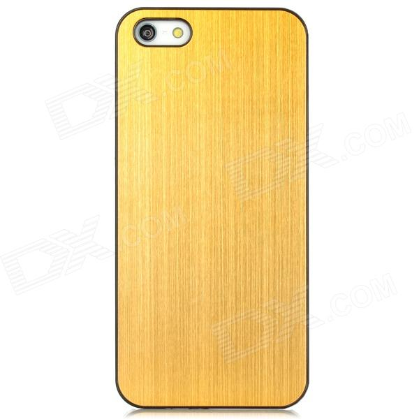 WJ Drawing Style Protective Plastic + Metal Back Case for Iphone 5 - Black + Golden