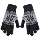 Thicken Hand Warmer Full-finger Gloves for Touch Screen Device - Black (Pair)