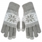 Thicken Hand Warmer Full-finger Gloves for Touch Screen Device - Grey (Pair)