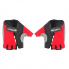 Cool Change Cycling Nylon Warm Half-finger Gloves - Black + Red (Size XL / Pair)