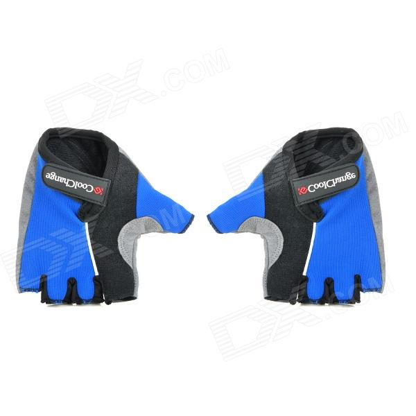 Cool Change Cycling Nylon Warm Half-finger Gloves - Black + Blue (Size XL / Pair) spakct cool006 knuckle riding cycling gloves black white red xl 21cm