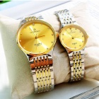 LAOGESHI 425-1 Couple Round Mineral Dial Steel Alloy Quartz Analog Wrist Watch - Golden (2 PCS)