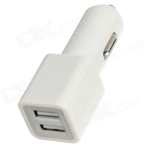Dual USB Car Cigarette Lighter Charger for Ipad MINI / Ipad 4 / 3 / 2 - White