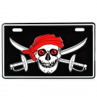 JR001 DIY Skull Pattern Aluminum Alloy Motorcycle License Plate Sticker - Black + White + Red
