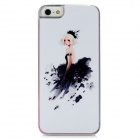 Evening Dress Beauty Pattern Protective Plastic Back Case for Iphone 5 - White + Black + Pink