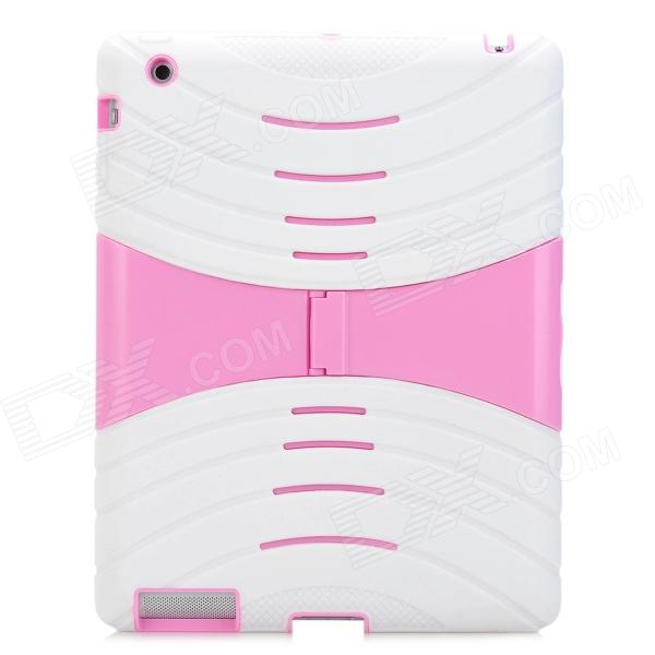 Protective Silicone Case w/ Stand for Ipad 2 / 3 / 4 - White + Pink protective silicone case for nds lite translucent white