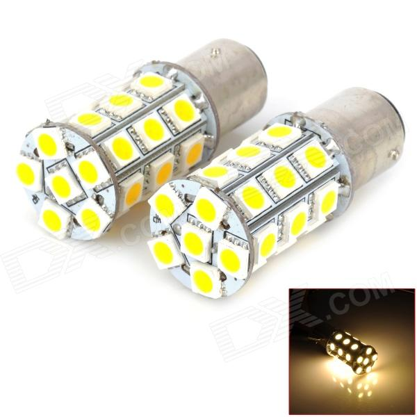 115750-27WN 1157 5W 300lm 4500K 27-SMD 5050 LED Warm White Light Car Bulbs - Silver + Yellow carprie super drop ship new 2 x canbus error free white t10 5 smd 5050 w5w 194 16 interior led bulbs mar713