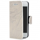 Bark Pattern Protective PU Leather Flip-Open Case w/ Card Slot for Iphone 5 - Grey White + Silver