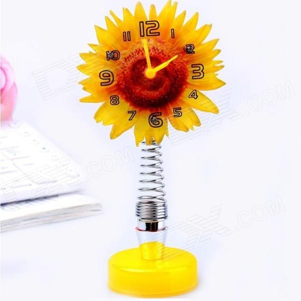 Cartoon Sunflower Style Quartz Desk Clock - Yellow
