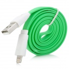Portable USB to 8Pin Lightning Flat Data & Charging Cable for iPhone 5 - Green